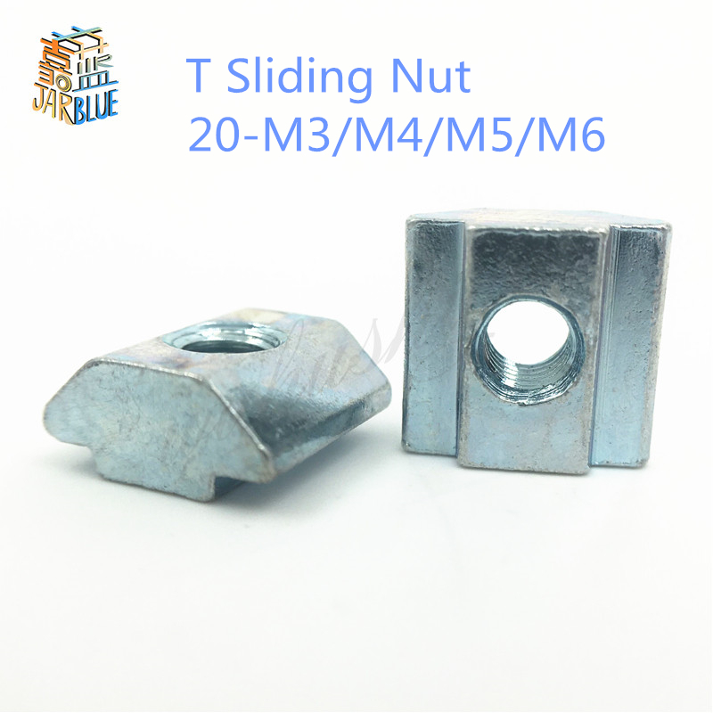 50pcs/lot T Sliding Nut Block Square nuts M3 M4 M5 M6 for 2020 Aluminum Profile Slot 6 Aluminum connector Accessor