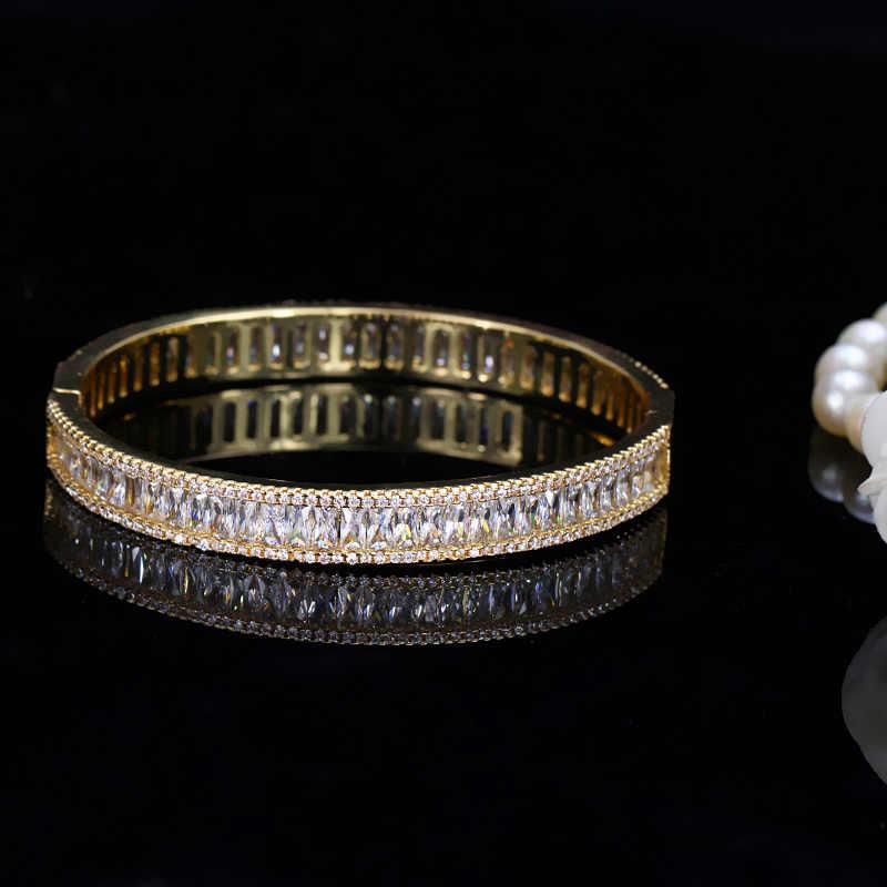 Pera יוקרה הודי דובאי כלה חתונה מתנה גדול מעוקב זירקון באגט בציר צמיד צמיד זהב צבע תכשיטי לנשים Z010