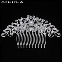 Aphieha Folha de Cristal Nupcial da Jóia Do Casamento Acessórios Para o Cabelo Pentes de Cabelo Da Tiara Da Coroa SellingWedding Quente Jóias Cabelo para As Mulheres