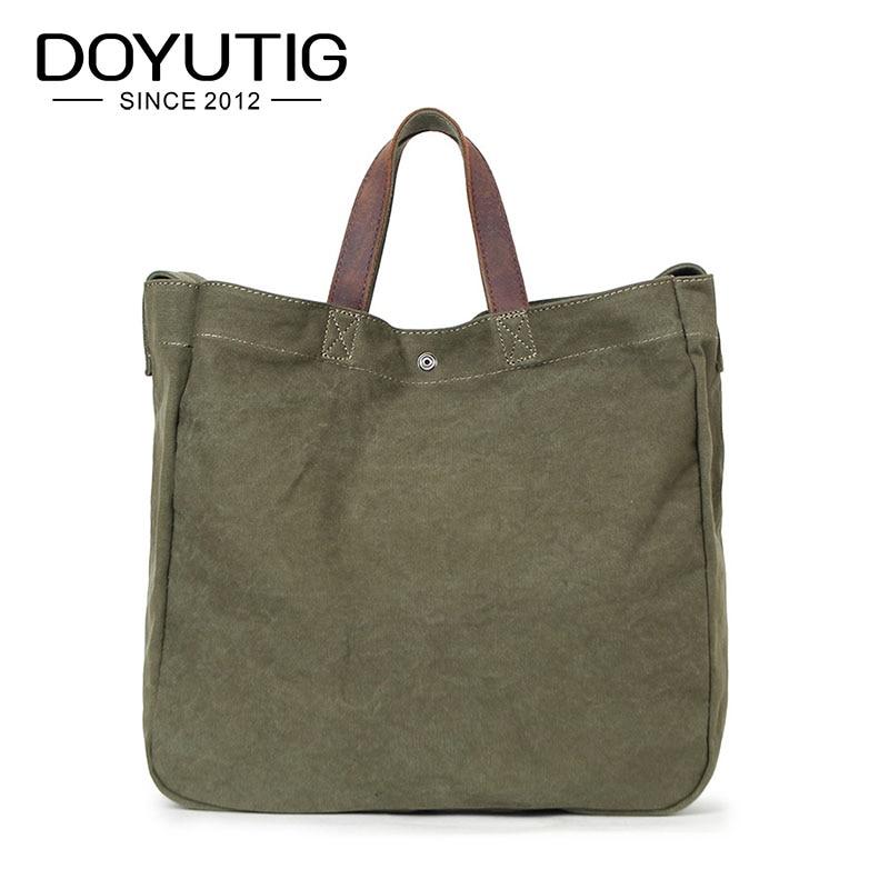 Simple Design Army Green Canvas Handbag Large Capacity Casual Tote For Women & Men Shoulder Bag Messenger Crossbody Bags G026 dark green stitching design crossbody bags