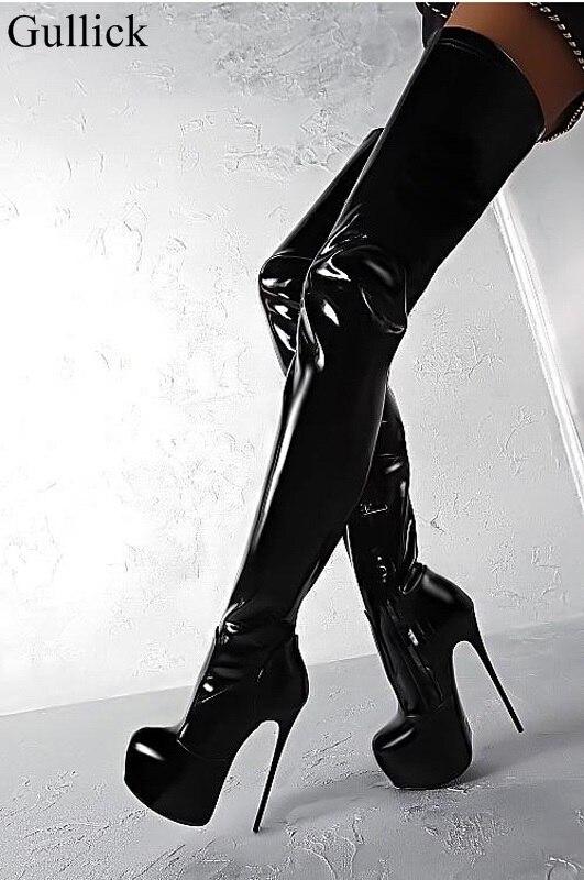 Для женщин пикантные Лакированная кожа выше колена Сапоги и ботинки для девочек черный высокая платформа ботинки с высоким голенищем каблу... ...