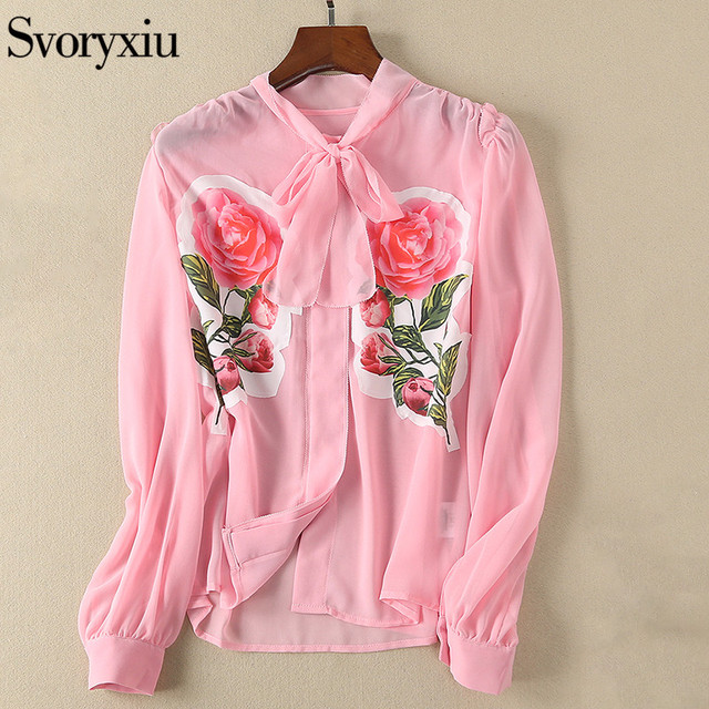 Svoryxiu 2018 Designer Brands Summer Pink Blouse Shirt Women's Long Sleeve Rose Appliques Top Elegant Female Shirts