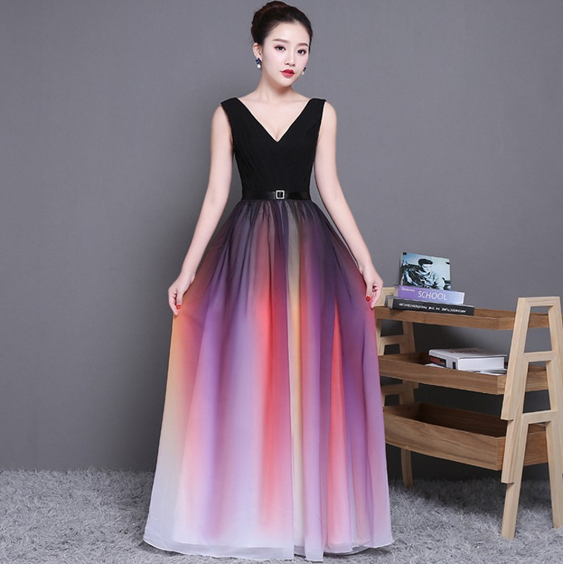 2019 Sexy Summer New Gradient Long Chiffon Dresses For Wedding Party Evening Prom Gowns Long Maxi Dress Vestido De Festa