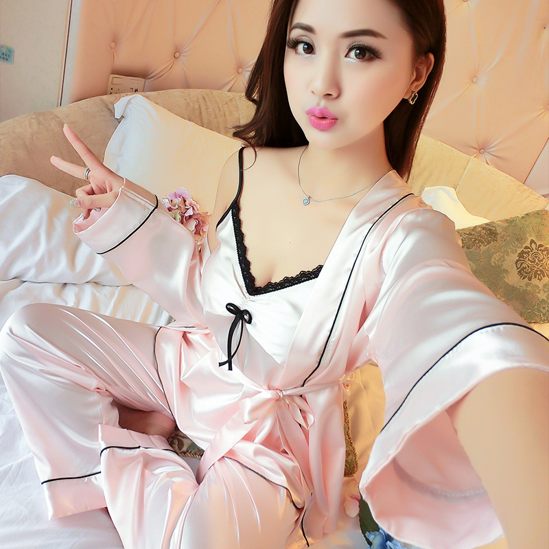 Sexy Pajamas Set Lace 3pcs Sleepwear Women Casual Home Wear Satin Kimono Bathrobe Gown Bride Bridesmaid Wedding Robe Pyjamas
