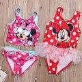 2017 New Baby Meninas Crianças Bonitos Da Criança Rato Swimwear Maiô Tankinis Bikini Summer Set cothes 2 T-7 T