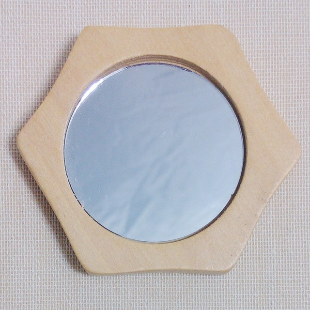 Mini Conveniencia Espejo de Bolsillo Espejo De Maquillaje De Madera De Madera Circular Ronda Espejo de Las Mujeres de Señora Makeup 90% dis J9