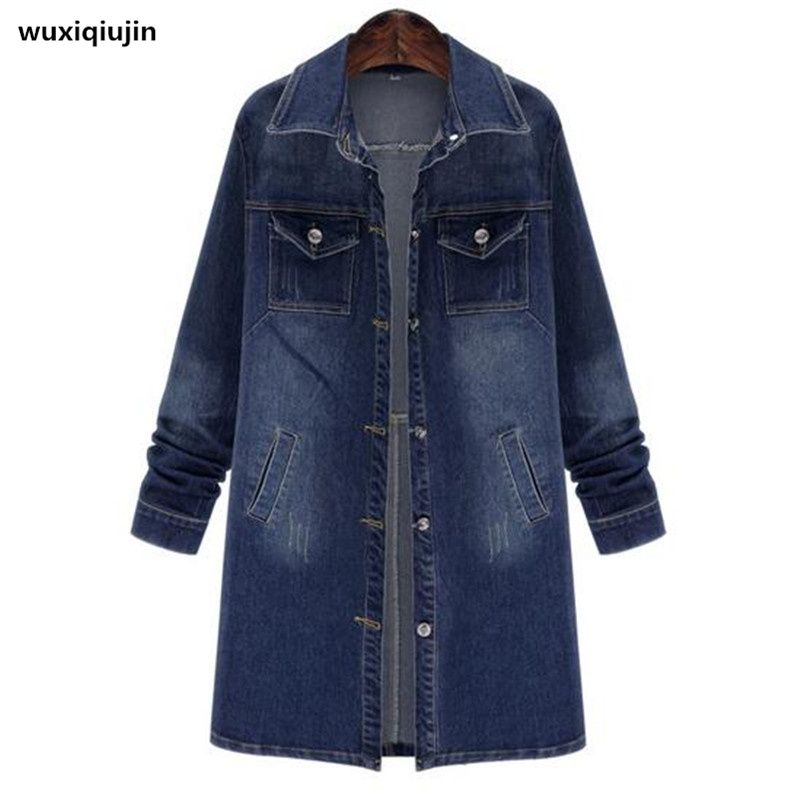 Denim fabric women   trench   coat Plus size 5xl long coats 2017 new winter women winter coats blue   trench   casual
