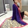 2016 Мода люксовый бренд шелковый шарф женщин осень и зима Бандана шарфы печатных шаль леди Пашмины écharpe cachecol cape