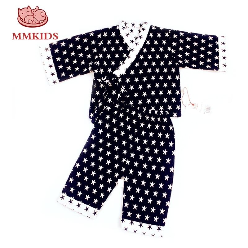 Mmkids Baby Pyjamas Set Kinder Mädchen Jungen Cartoon Schlaf Kleidung Sterne Druck Kostüm Langarm Gürtel Nachtwäsche 0-3 Kleinkinder