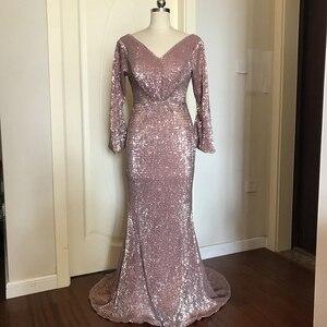 Image 3 - ללכת לידך ערב שמלות לנשים רוז זהב בת ים סקסי עמוק V צוואר נצנצים בלינג ארוך שרוולים לטאטא רכבת שמלות נשף