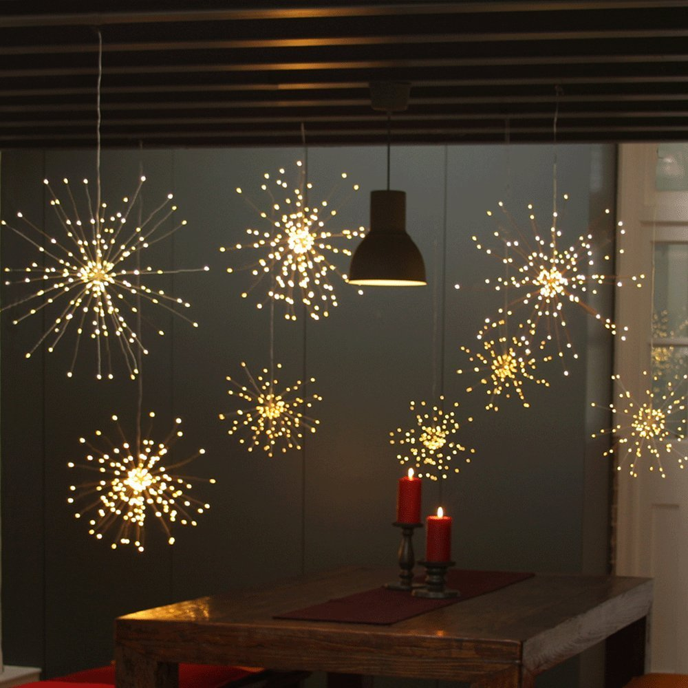 DIY LED Fairy String Light 150LEDS Battery Operated Starburst Holiday Light with Remote Control Decoration for