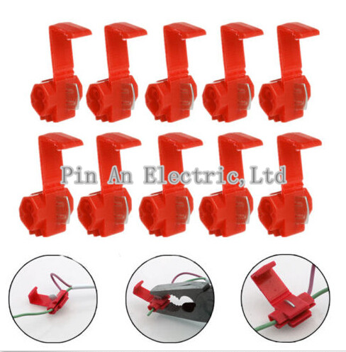 10pcs/lot Red 801P3 Scotch Lock G12 Quick Splice Crimp Terminal 22-18 AWG Wire Connector For 0.5-1.0 Wire 25pcs scotch lock quick splice 12 10 awg wire connector yb