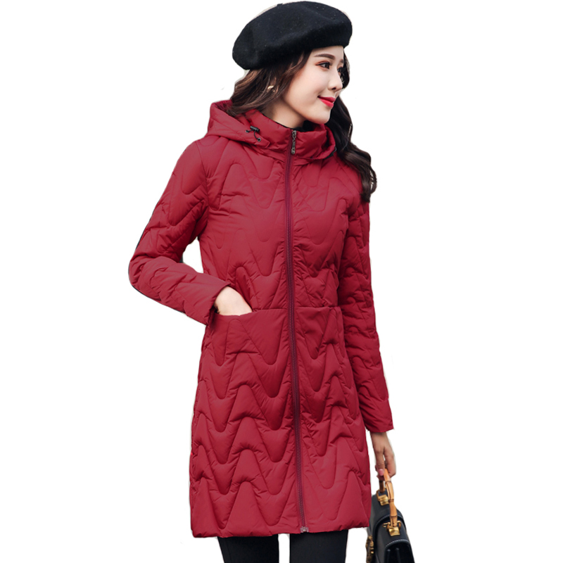 Women Winter Jacket 2019 Casual Hooded Slim Solid Outwear Female   Coat     Coat   Long Parka Chaqueta Mujer Invierno