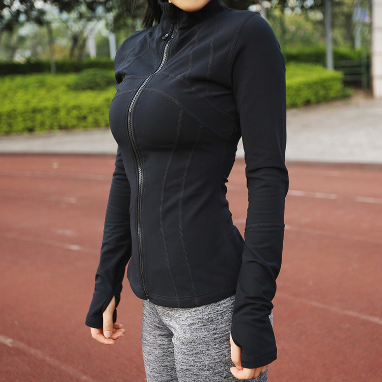 A female fitness shirt collar with long sleeved tight zipper cardigan font b jacket b font