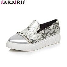 SARAIRIS 2019 Summer Brand Mixed Color Loafers Women Big Size 34-43 Rivet Platform Flats Shallow slip-on Women Casual Shoes