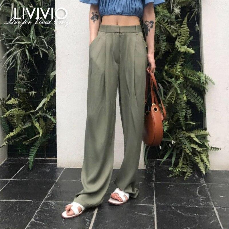 [LIVIVIO] Streetwear High Waist Long Palazzo   Wide     Leg     Pants   Women Black Loose Trousers Neon Green Korean 2019 Summer Clothes