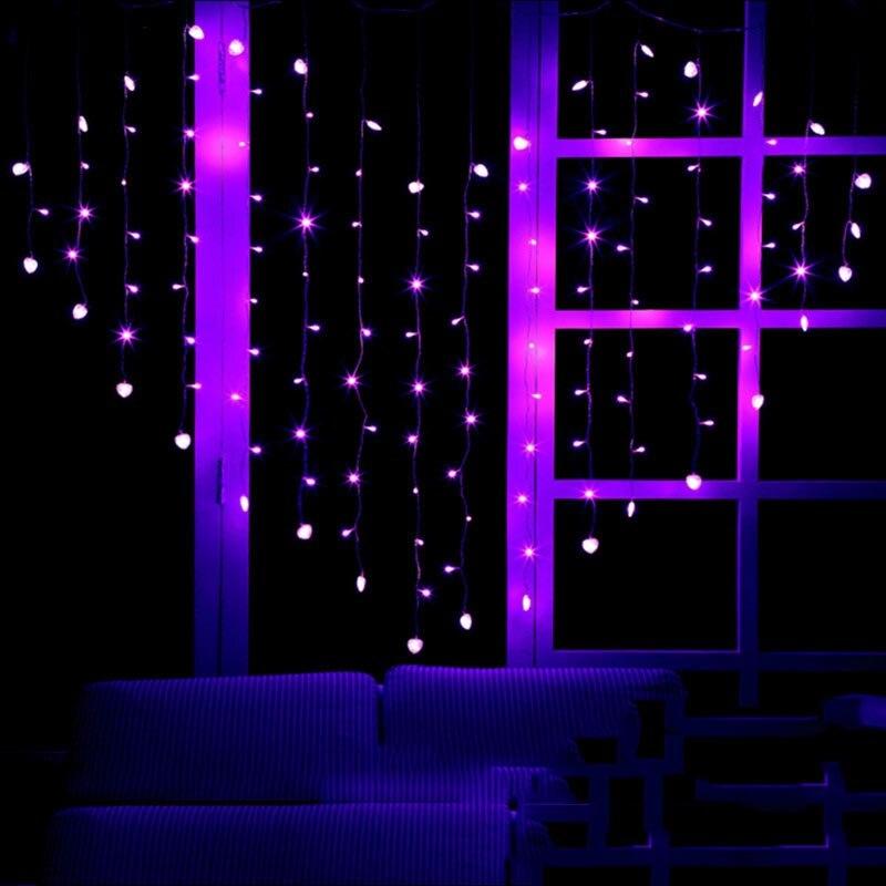 Led Curtian свет строка 2x1,5 м 124 светодиоды Свадебные украшения дома света в помещении декор сердце розовый, зеленый, желтый белый AC220V VR ...