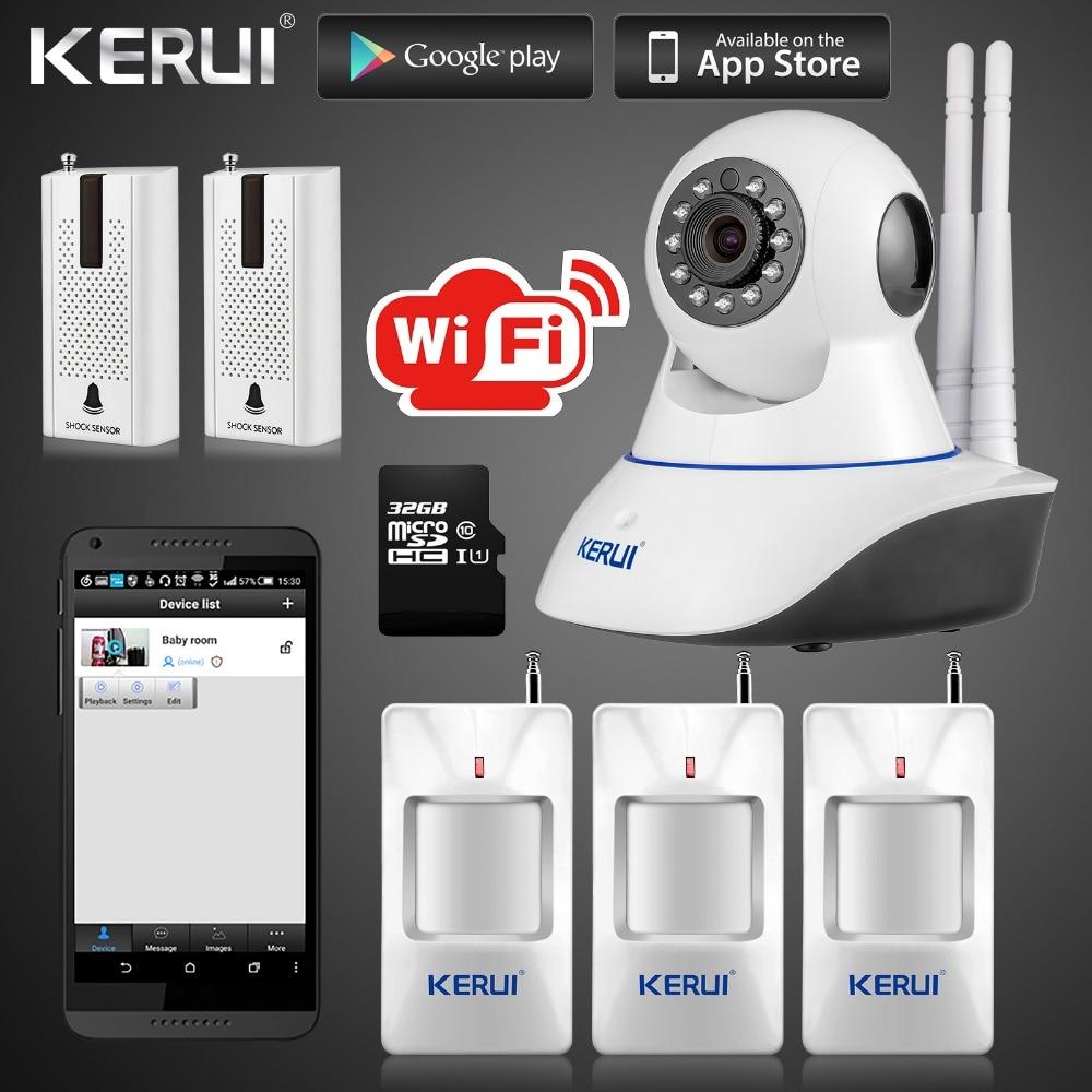 Kerui IP Camera Wireless Wifi 720P GSM SMS with 32G SD Card Smart Home Intruder Alarm System Camera with Vibration Door sensor g90b plus 2 4g wifi gsm gprs sms intruder wireless home security alarm system hd 720p wifi ip camera wireless smoke detector