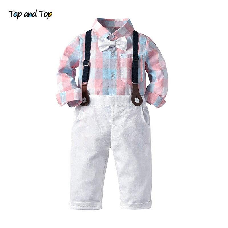 Top And Top Autumn Fashion Kids Boys Casual Clothing Sets Long Sleeve Plaid Bowtie Shirt+Overalls Children Gentleman 2Pcs Suit