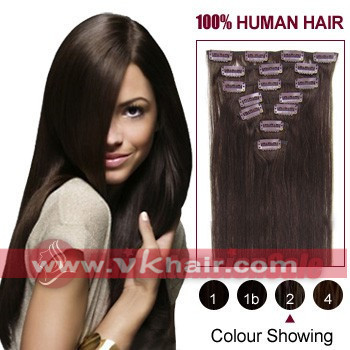 "15""-26"" inch Remy Clip in hair 7pcs#02 - dark brown Human Hair Extension 70g 80g 100g 120g   STOCK    Dropshipping  freeshipping"