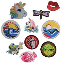 New Sun Moon Horse Skull Lips Fish Iron on Patches for Clothing Embroidery Stripe Clothes Cute DIY Sequin Applique Badge