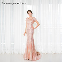 Forevergracedress Rose Gold Sequins Bridesmaid Dress New Arrival Long Cowl Back Wedding Party Dress Plus Size