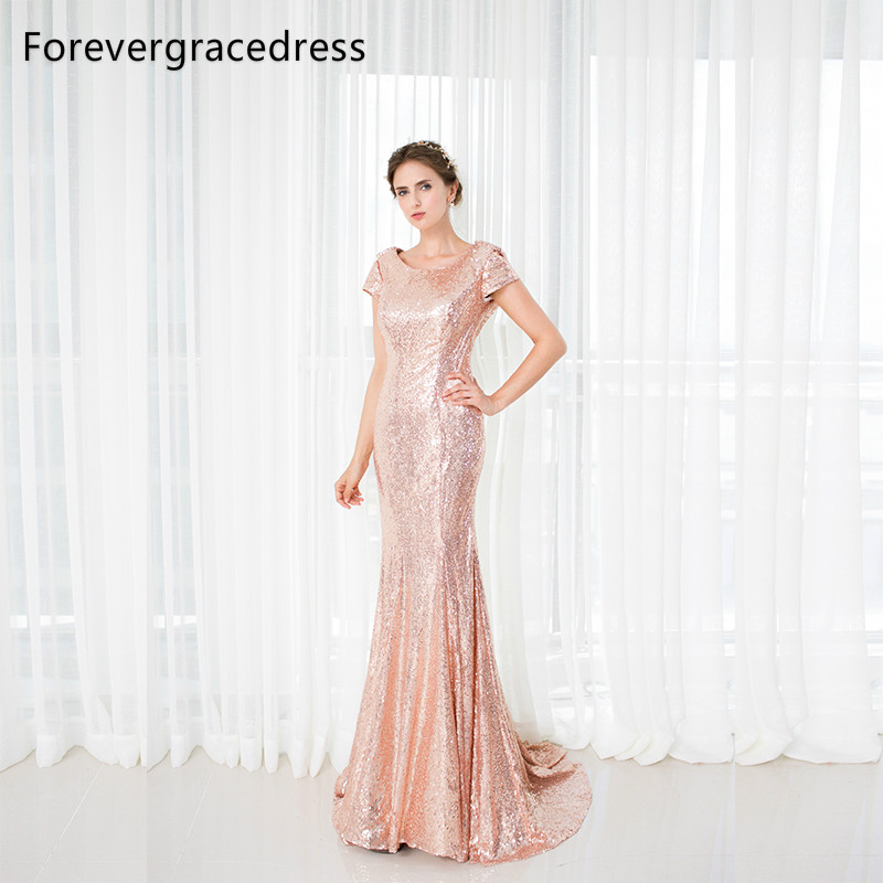 Forevergracedress Rose Gold Sequins Bridesmaid Dress New