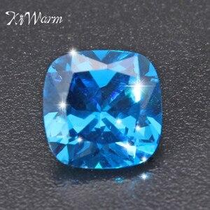 KiWarm 8,71 карат без подогрева искусственный синий сапфир, свободный камень, подушка, драгоценный камень для DIY ювелирных изделий 10*10 мм
