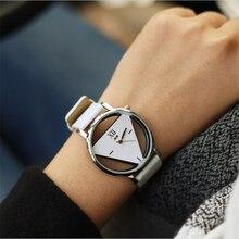Hot!feminino skeleton watch Triangle watch women Delicate transparent hollow leather strap wrist watch quartz dress watch