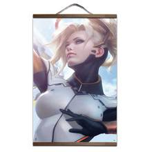 Overwatch Mercy Angela Ziegler HD poster room decor wood hanging scroll