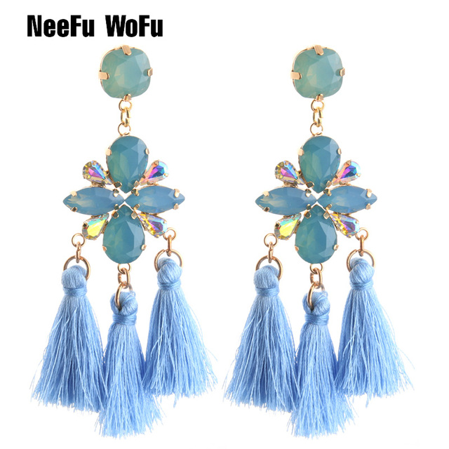 NeeFu WoFu Drop Resin Earring Crystal Tassel Big Earring Dangle Copper Large  Long Brinco Printing Ear ebe8e2e5f401