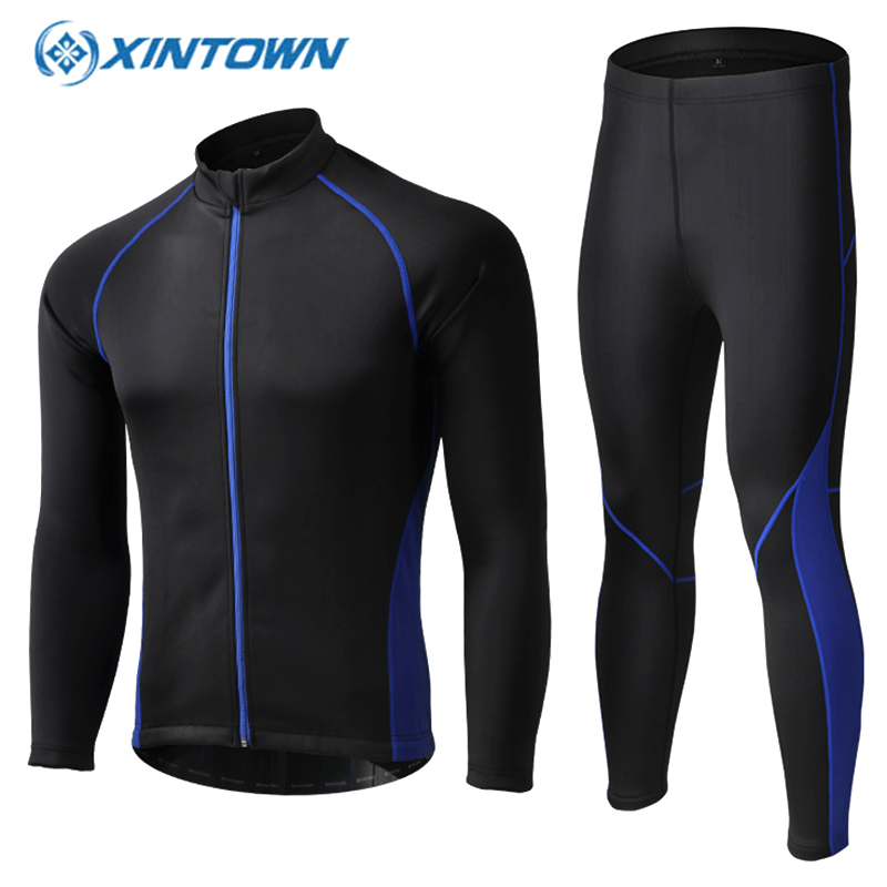 XINTOWN Winter Cycling Sets Bicycle Jacket Windproof Fleece Long Jersey With Full Pants Bike Clothing Suit Ropa De Ciclismo bxio winter thermal fleece cycling jersey sets pro team long sleeve bicycle bike clothing cycling pantalones ropa ciclismo 111