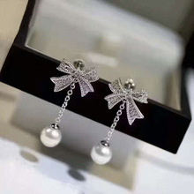 cubic zircone Korean crystal ribbon with shell pearl 925 sterling silver long stud earrings for women bride wedding gift