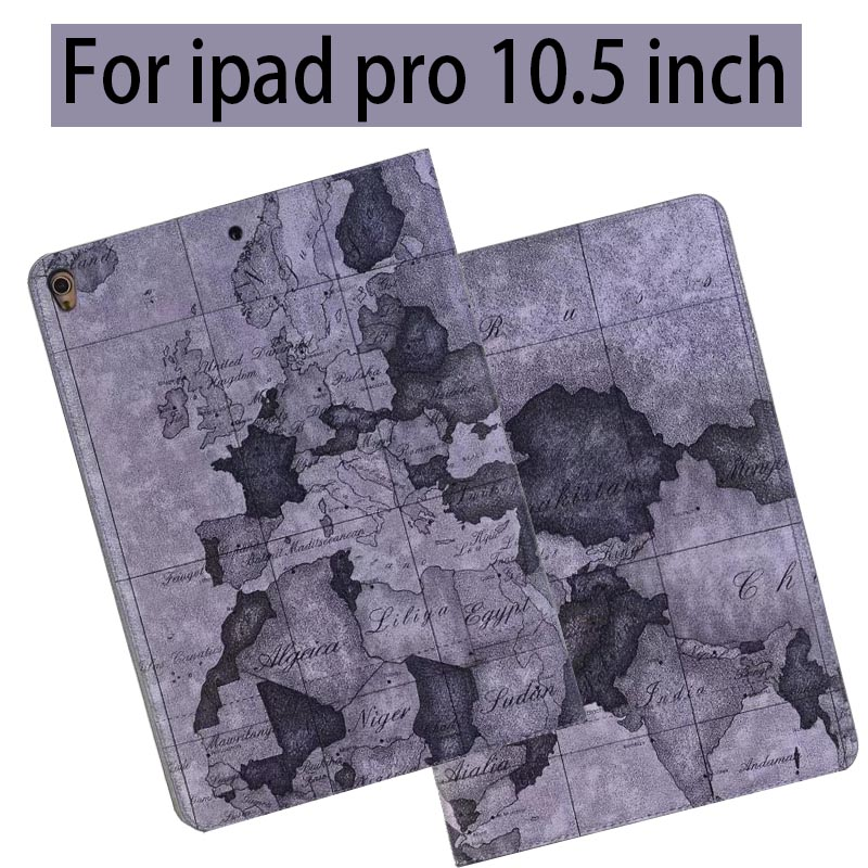 Retro Map Smart Case for iPad Pro 10.5 inch PU Leathe Stand Tablet Protector for Apple iPad Pro 10.5 Case Cover A1701 A1709