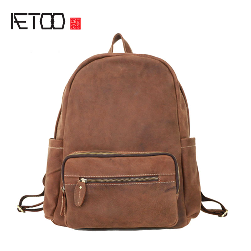 AETOO Crazy horse leather backpack male travel bag large capacity travel travel leather retro simple casual shoulder bag youth t aetoo new front cowhide retro leather shoulder bag men travel backpack europe and the united states crazy horse leather
