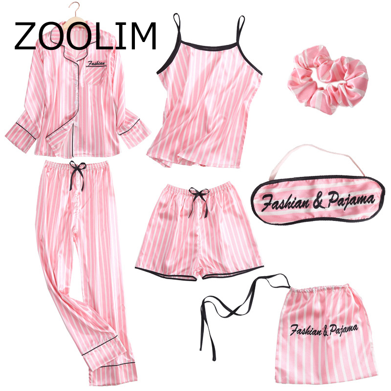 ZOOLIM 7 Pieces Autumn Silk Women   Pajamas     Sets   with Pants Long Sleeve Sleep Blouse Ladies Nightwear Female Sexy Satin Sleepwear