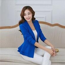 2016 Autumn Elegance Casual Jackets Women Slim Short Design Ruffles Slim Jackets Office Women Coat Clothing Plus Size WJKB002