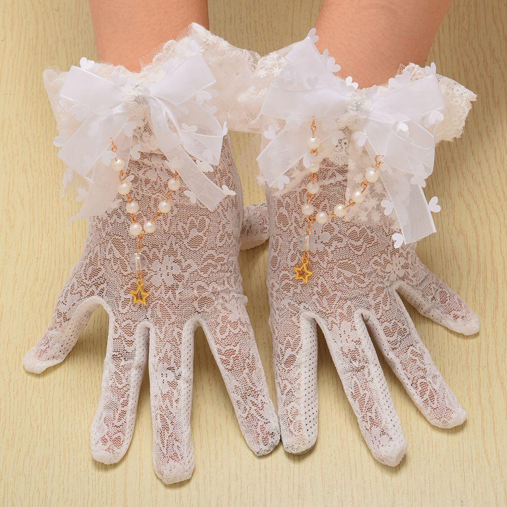 White Lolita Lace Gloves 1