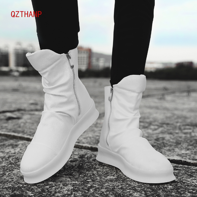 Sweet-Tempered Winter Ankle Boots Men Tenis Black Luxury Leather Casual Shoes Comfortable Zip Sneakers Male Krasovki Buty Scarpe Uomo Schoenen Men's Shoes