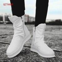 Winter Ankle Boots Men Tenis Black Luxury Leather Casual Shoes Comfortable Zip Sneakers Male Krasovki Buty Scarpe Uomo Schoenen