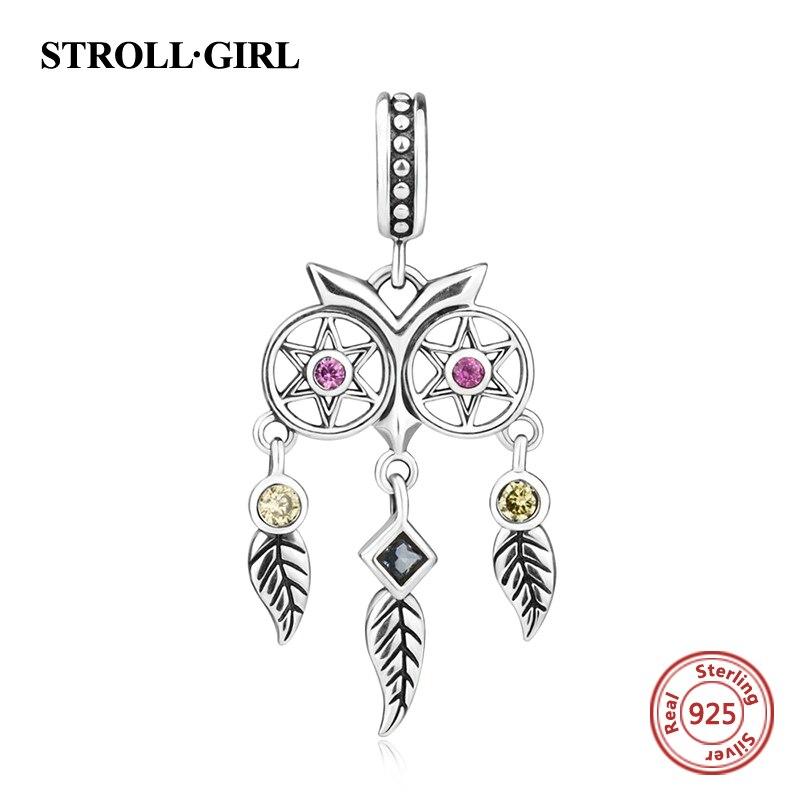 Neue ankunft 925 serling silber charms eule Dreamcatcher bead fit authentische pandora anhänger armbänder perlen & schmuck machen geschenke