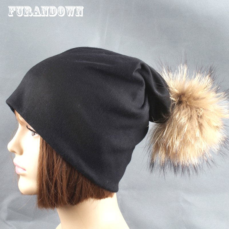 Autumn Winter Unisex Solid Color Cotton   Skullies     Beanies   Women Fur Pompom   Beanie   Hats For Men Ladies Pompon Caps