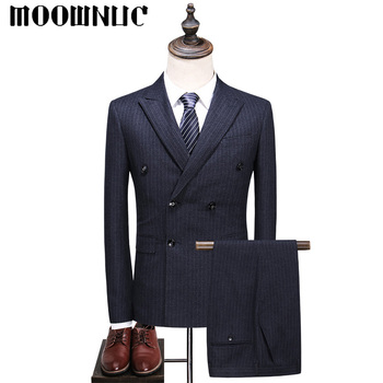 Three piece set Strip Business Casual Suits Trousers Vest High Quality Classic Men MOOWNUC Fashion Groom's suit Double-breasted