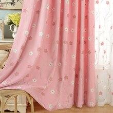2017 Floral Bordado Rosa Cortinas para la Sala de Princesa Cortinas de la Ventana para el Tratamiento de la Ventana Cortinas del Dormitorio para Niños