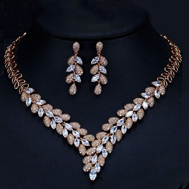Image 3 - CWWZircons/Роскошные комплекты ювелирных изделий из белого золота  с королевским синим цирконием и камнями из фианита, свадебные  аксессуары для одежды T315Ювелирные наборы для невесты