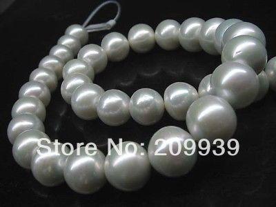 Huij 003293 Exceptionnelle lustre Naturel gris blanc AA + + + + 12-15mm ronde nucléaire perles collier