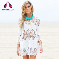 TOPMELON Swimsuit Cover Ups Women Kaftan Beach Tunic Blouses Summer Shirt Beachwear Hollow Pareo Cover Ups