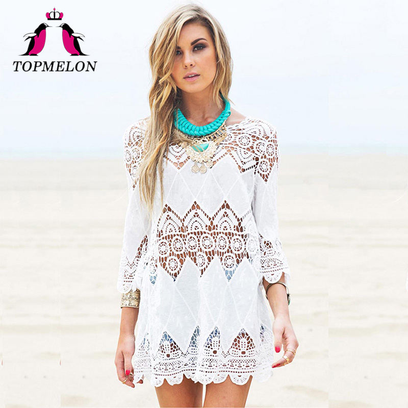 TOPMELON Swimsuit Cover Ups Women Kaftan Beach Tunic Blouses Summer Shirt Beachwear Hollow Pareo Cover Ups Dress Beach Tunic