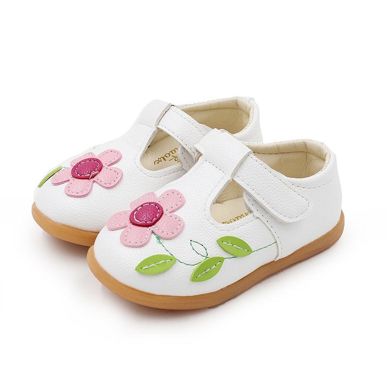 1 2 3 4 5 6 7 8 Years White Pink Flower Children Toddler Baby Little Girls Flat Leather Shoes For Girls School T-Shoes New 25