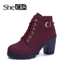 2018 New Thick Heels High Shoes Women Heels Women's Boots Winter Fashion British